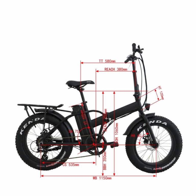 FAT Tire MN 20 Folding eBike Sizing Chart