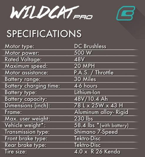 wildcat specs